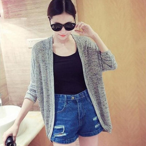 Women Solid Color Loose Cardigan Sweater
