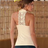 Women Tops Halter Neck Strapless Tank Sexy Backless Lace Stitching