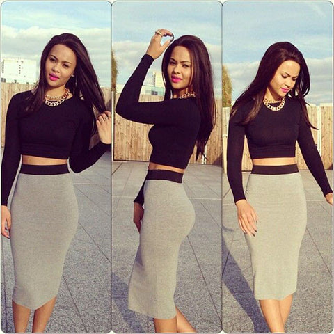 Two Piece Crop Top And Pencil Skirt Set Black Grey