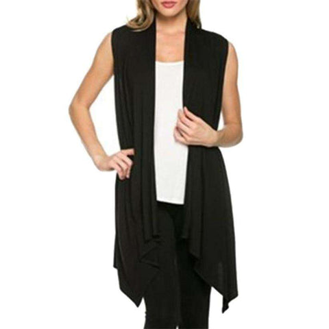 Lightweight Knitted Long Open-Front Sleeveless Cardigan