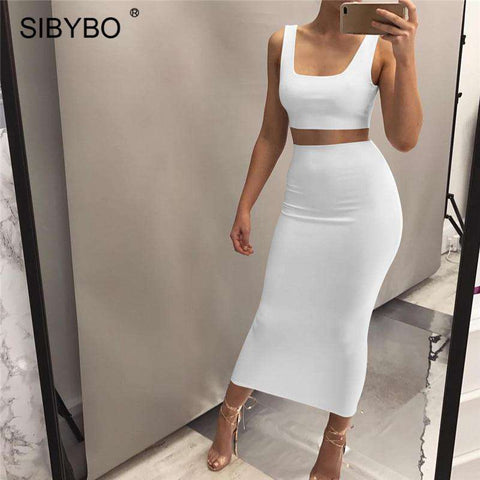 Women Strap Backless Crop Two-piece Women Party Dress