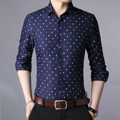Long Sleeve Men Business Casual Slim Fit Shirt