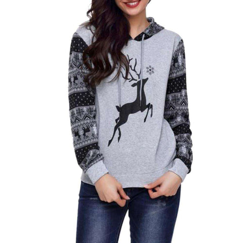 Womens Autumn Winter Christmas Printing Hoodies Sweatershirt Tops Blouse