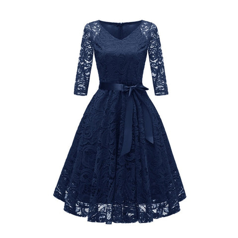 f364738dab6 ... V-Neck Hollow Out 3 4 Sleeve Lace Dress Women