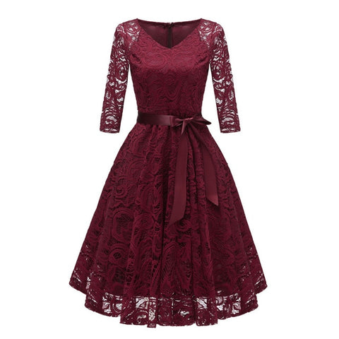 V-Neck Hollow Out 3/4 Sleeve Lace Dress Women