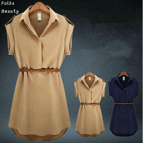V-Neck Short A-Line Women Chiffon Casual Dress