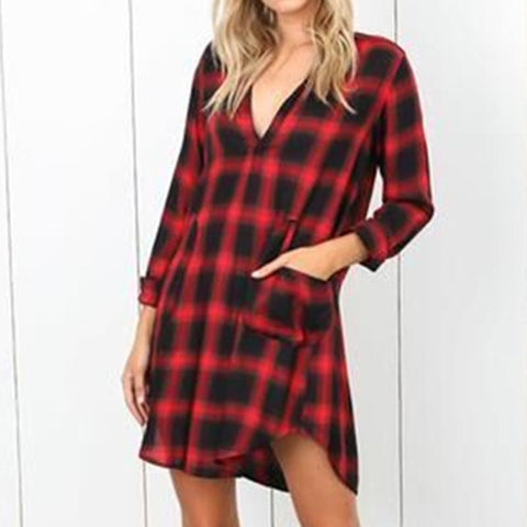 V Neck Loose Women Plaid Mini Shirt Dress