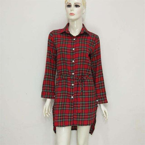 Checker A-Line Cotton Women Tartan Button Down Dress