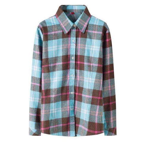 Fashion Plaid Style Women's Long Sleeve Flannel Shirt
