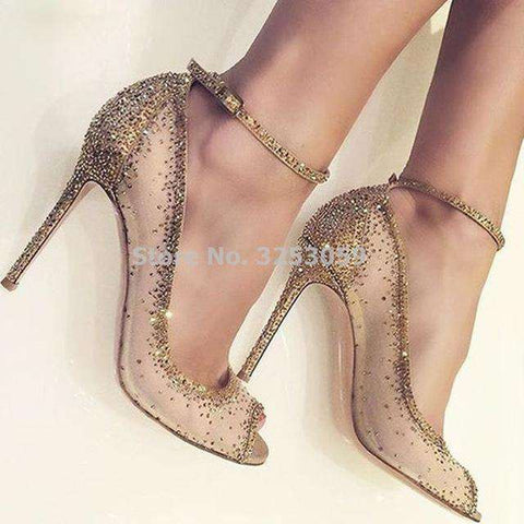 Champagne Gold Open Toe Rhinestone Heel Pumps