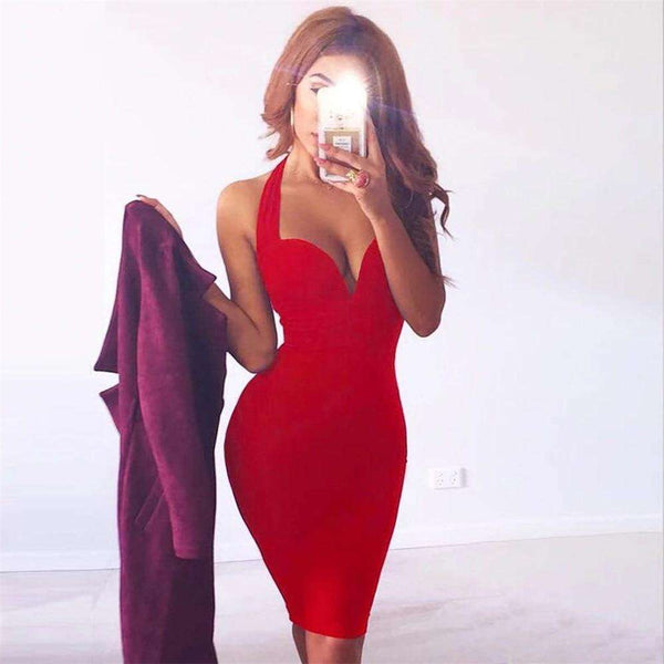 Red V Neck Club Bandage Bodycon Backless Dress Women