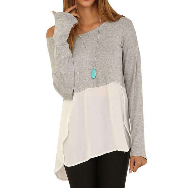 Women Tops Long Sleeve Slash Neck Top