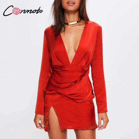 Ruched Mini Casual Deep V Neck Red Party Dress Women