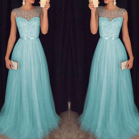 Beading Tulle Sleeveless Long Prom Party Gown Dress