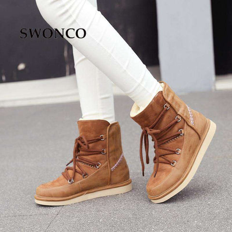 Women's Winter Snow Genuine Leather Warm Wool Boots