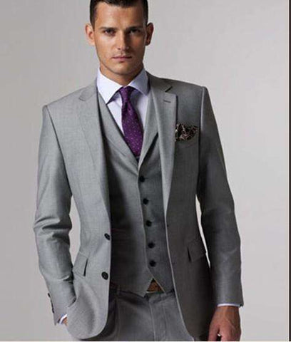 Custom Men's Light Grey Suit Jacket Pant Formal Dress