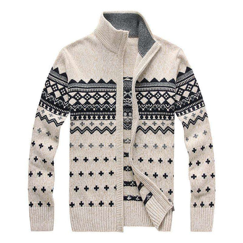 Casual Collar Stylish Men Sweaters Cardigan Slim Thick Coat Woolen