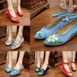 Embroidery Shoes Pointed Toe Flats