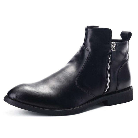 Italian Desing Pointed Toe Men Zipper Ankle Boots