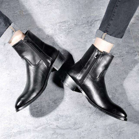 Fashion Leather Men Zipper Ankle Boots