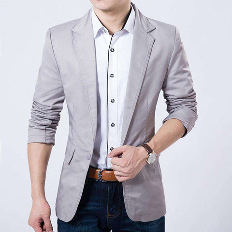 Casual Blazer Men Slim Fit Jacket Suits Coat Button