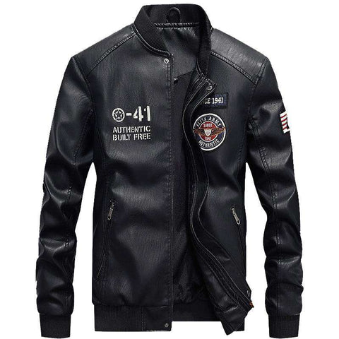 Men's Fleece PU Leather Stand Collar Jacket