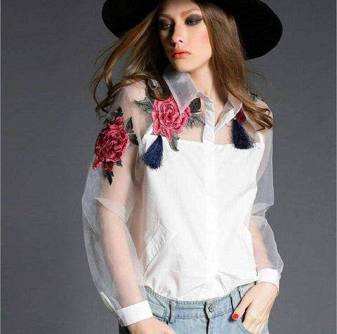 Flower Embroidery Organza Shirt Women
