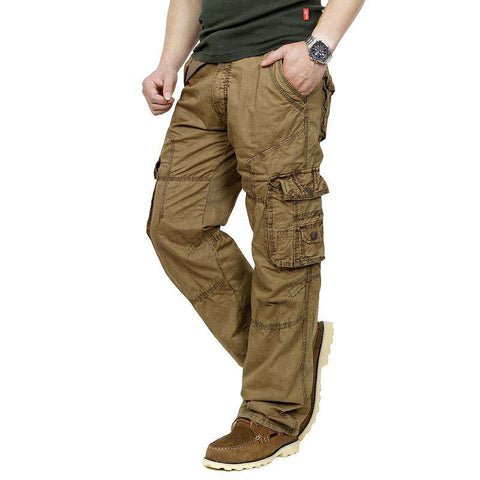 Casual Cargo Pants for Men Long Trousers Pockets Overall Millitary