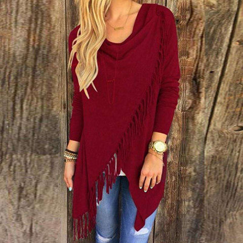 Irregular Hem Long Sleeve Knitted Cardigan with Tassels Maroon