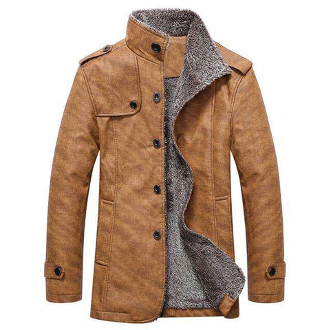 Mens Stand Collar Epaulet Single Breasted Coat