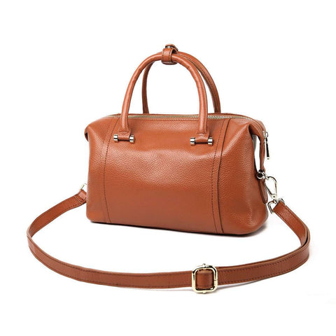 Genuine Leather Shoulder Messenger Bag Brown