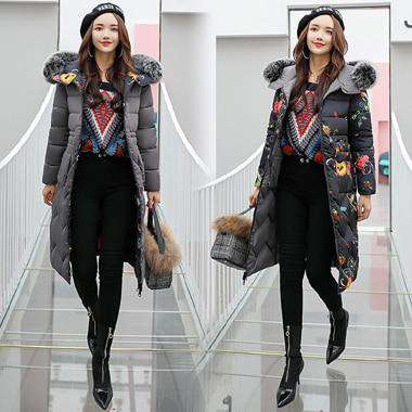 Women Winter Long Parkas Slim Solid Fur Hooded Jacket