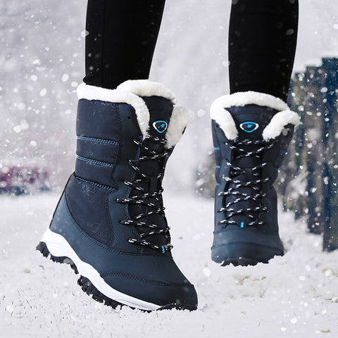 Waterproof Thick Fur Women Snow Boots