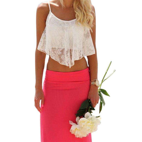 Floral Crop Tops  White For Women