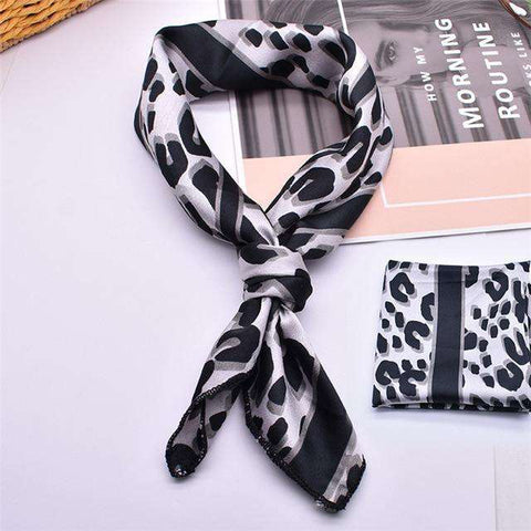 Leopard Satin Small silk Square Tie Scarf