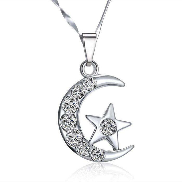 Crystal Moon and Star Silver Pendant Necklace for Women