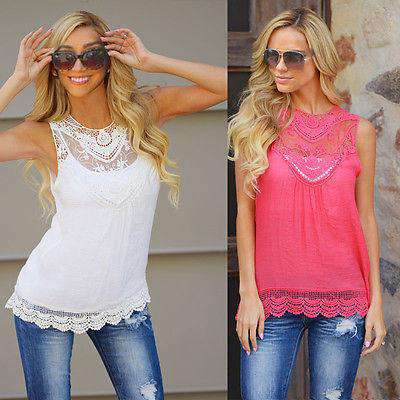 Casual Sleeveless Knitted Chiffon Lace Top