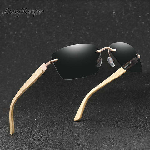 Bamboo Sunglasses Square Frame UV400 For Men