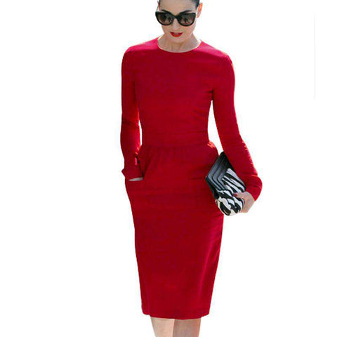 O-Neck Pinup Pocket Stretch Sheath Formal Long Sleeve Pencil Dress Red