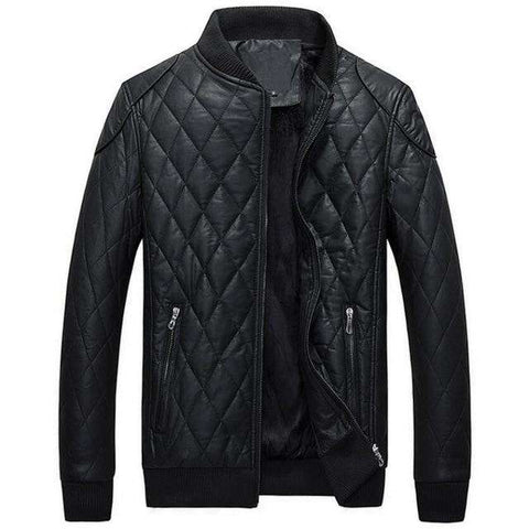 Men Thick Warm Motorcycle Leather JacketL