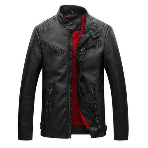 Men Velvet Thick Warm Pu Leather Jacket