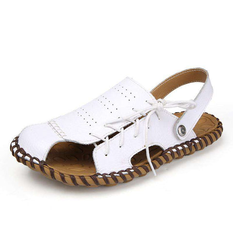 Genuine Leather Soft Summer Men's Retro Sewing Casual Beach Sandals