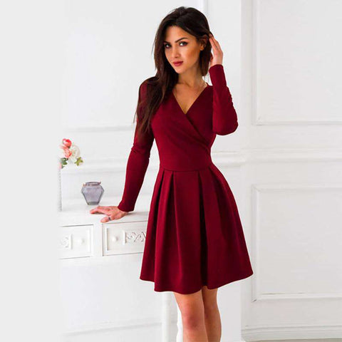 New Arrival Deep V-Neck Women Long Sleeve Dress