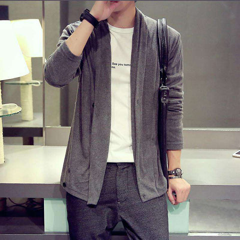 long-sleeve sweater Solid high-grade turn-down collar Men's Cardigan