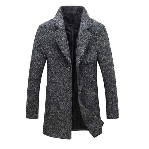 Mens Woolen Jacket Coat Long Casual
