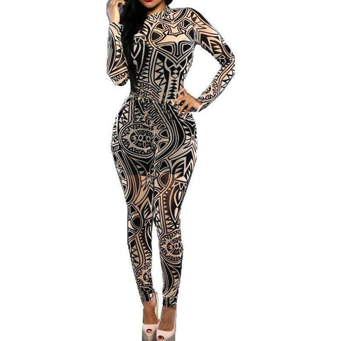 Women Tattoo Print Vintage Bodycon Jumpsuit Rompers