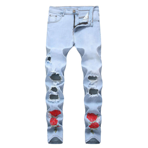 Blue Ripped Flowers Embroidery Men Stretch Skinny Jeans Pants