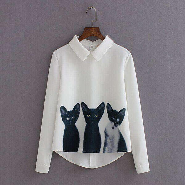 Cats Printed Long Sleeve Casual Women White Blouse
