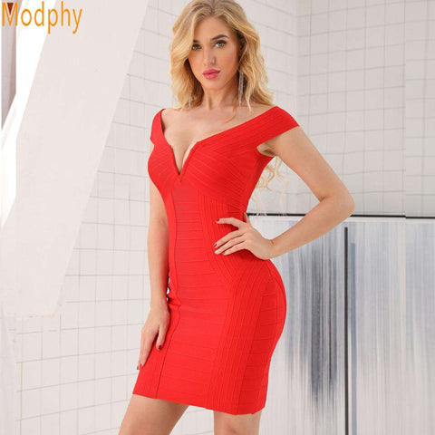 red v neck mini off shoulder bodycon bandage dress woman