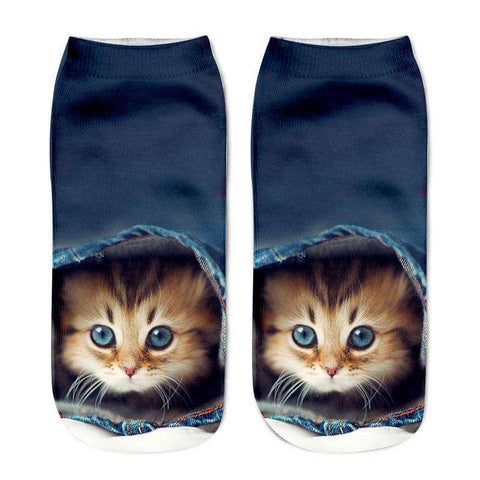3D Cat Printed Casual Socks Women
